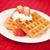 mitad · corte · fresa · crema · batida · rojo · mantel - foto stock © wavebreak_media