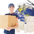 composite image of happy delivery woman holding cardboard box stock photo © wavebreak_media