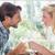 bonitinho · sorridente · casal · refeição · juntos · casa - foto stock © wavebreak_media