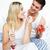 szerelmespár · ünnepel · eljegyzés · eprek · pezsgő · ágy - stock fotó © wavebreak_media