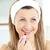 güzel · genç · kadın · kırmızı · ruj · banyo · ev · kırmızı - stok fotoğraf © wavebreak_media