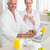 Smiling couple using laptop at breakfast in bathrobes stock photo © wavebreak_media