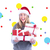 composite image of festive blonde holding pile of gifts stock photo © wavebreak_media