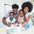 pai · ajuda · crianças · lição · de · casa · homem · trabalhar - foto stock © wavebreak_media