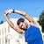行使 · ストレッチング · 肖像 · 若い男 · ウィンドウ · 青 - ストックフォト © wavebreak_media