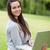 jungen · glücklich · Frau · halten · Laptop · stehen - stock foto © wavebreak_media