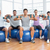 fitness class with dumbbells sitting on exercise balls in gym stock photo © wavebreak_media