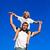 pai · filho · piggyback · blue · sky · sorrir · amor - foto stock © wavebreak_media