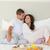 счастливым · пару · завтрак · кровать · домой · люди - Сток-фото © wavebreak_media