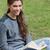 lächelnd · junge · Mädchen · halten · offenes · Buch · Sitzung · nach · unten - stock foto © wavebreak_media