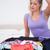 若い女性 · 頭 · 見える · フル · スーツケース · ベッド - ストックフォト © wavebreak_media