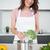 souriant · jeune · femme · brocoli · cuisine · portrait · maison - photo stock © wavebreak_media