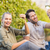 two young happy vintners holding a glass of wine and grapes stock photo © wavebreak_media