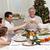 famiglia · Natale · cena · home · ragazza · vino - foto d'archivio © wavebreak_media