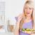 gülen · kadın · yeme · salata · mutfak · kadın - stok fotoğraf © wavebreak_media