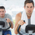 determined men using exercise bikes stock photo © wavebreak_media