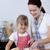 madre · insegnamento · figlia · taglio · pane · cucina - foto d'archivio © wavebreak_media
