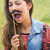 joli · brunette · faux · moustache · femme · nature - photo stock © wavebreak_media