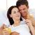 intimate couple drinking orange juice stock photo © wavebreak_media