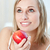 mooie · vrouw · eten · appel · home · vrouw · voedsel - stockfoto © wavebreak_media
