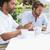 dois · ocupado · amigos · café · juntos · fora - foto stock © wavebreak_media