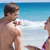 pretty brunette putting sun tan lotion on her boyfriend stock photo © wavebreak_media