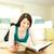 улыбающаяся · женщина · чтение · журнала · полу · домой - Сток-фото © wavebreak_media