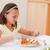 kız · akşam · yemeği · yemek · masası · salata · gülen · mutluluk - stok fotoğraf © wavebreak_media