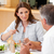 woman talking to her husband during dinner stock photo © wavebreak_media