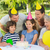 extended family wearing party hats at birthday celebration in pa stock photo © wavebreak_media