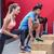 muscular athletes doing leg stretchings stock photo © wavebreak_media