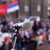 microfone · foco · turva · multidão · político · reunir - foto stock © wellphoto