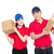 young man and woman carrying cardboard box stock photo © wxin