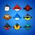 Set round funny birds ob blue background stock photo © wywenka