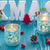 Christmas Wood Decoration in Turquoise and Red Color with Xmas T stock photo © x3mwoman