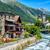 swiss village in alps mountains grisons switzerland stock photo © xantana