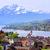 lago · vista · alpino · paisaje · bandera - foto stock © xantana
