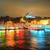 fish boat restaurants on golden horn at night istanbul turkey stock photo © xantana