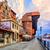 barrio · antiguo · puerto · gdansk · Polonia · puesta · de · sol · cielo - foto stock © xantana