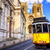 historical yellow tram and the lisbon cathedral lisbon portugal stock photo © xantana