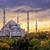 blue mosque sultanahmet istanbul turkey on sunset stock photo © xantana
