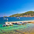 turquoise beach and small harbor on vis stock photo © xbrchx