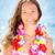 mulher · flores · grinalda · feliz · sorrindo · praia - foto stock © Yaruta