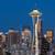 Seattle · linha · do · horizonte · pôr · do · sol · Washington · auto-estrada · cidade - foto stock © yhelfman