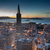 aerial views of city skyline and san francisco bay from downtown dusk stock photo © yhelfman
