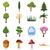 groene · vector · abstract · kerstboom · iconen · collectie - stockfoto © ylivdesign
