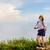 turista · menina · adolescente · montanha · adolescentes · menina · andarilho - foto stock © Yongkiet
