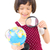 ázsiai · lány · kislány · néz · földgömb · mosoly - stock fotó © yongtick