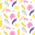 yellow and pink palm leaves seamless vector pattern stock photo © yopixart