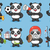 zwart · wit · panda · beer · cartoon · mascotte · karakter - stockfoto © yuriytsirkunov